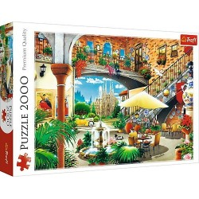 Puzzle 2000 elementów - Widok na Barcelonę