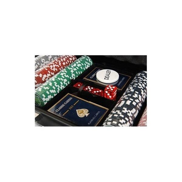Zestaw do pokera 300 z nominałem, skórzana walizka.