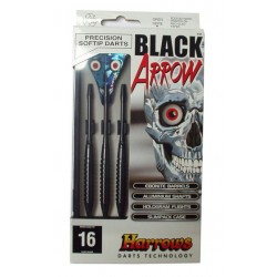 RZUTKI Z PLASTIKOWĄ KOŃCÓWKĄ HARROWS SOFT BLACK ARROW 14G