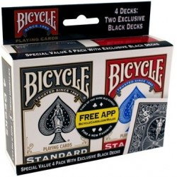 4 X KARTY TALIE GRY POKER BICYCLE RIDER BACK LUX